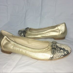 AGL Ballet Flats 36 gold shoes cap toe